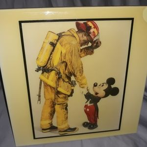 Disney's Mickey & Firefighter Handshake Tile Art